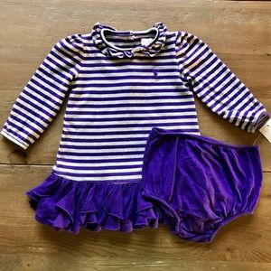 Ralph Lauren baby purple grey stripes dress 9month